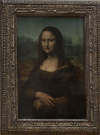 Mona lisa  portrait of leonardo da vinci in paris at louvre museum