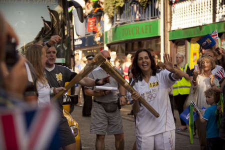 Olimpic Torch 2012 on a street of Chester
