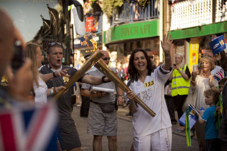 Olimpic Torch 2012 on a street of Chester Stock Photo - 13847077