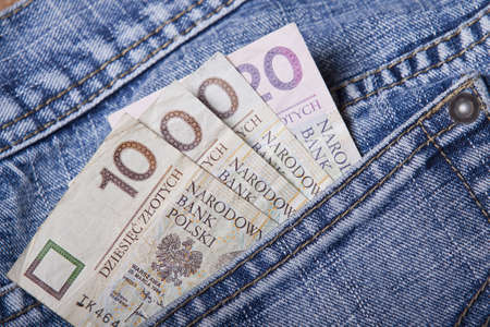 Money in a Jean Pocket Stock Photo