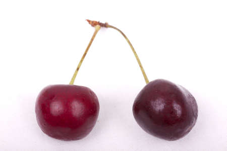 photo of sweet cherries on a white background photo