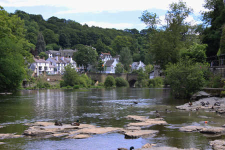 View of Llangollen in Denbighshire Wales UK