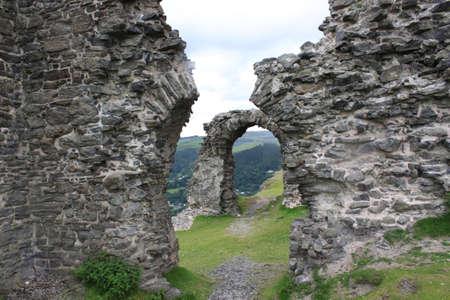 View of Castell Dinas Bran above Llangollen in Denbighshire Wales UK