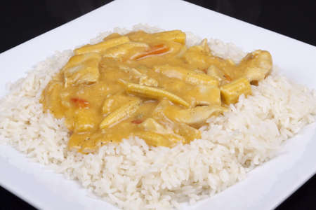 diced chicken in coconut curry sauce served with rice photo