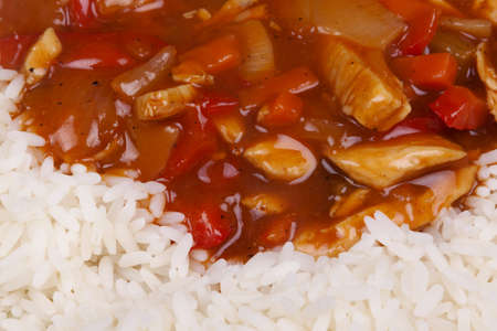Closeup photo of chinese sweet and sour chicken with rice Stock Photo - 18568117