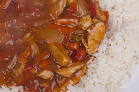Closeup photo of chinese sweet and sour chicken with rice Stock Photo - 18568113