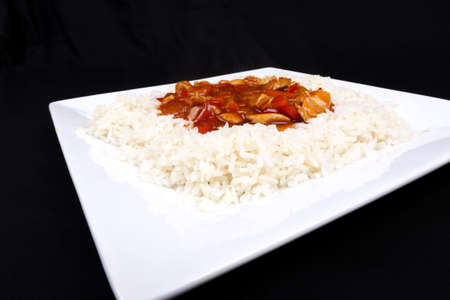 Closeup photo of chinese sweet and sour chicken with rice Stock Photo - 18568090