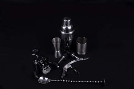 bar tools on black background photo