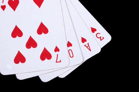 love playing cards isolated on a black background,