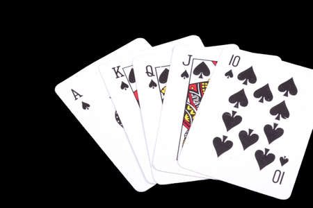 knave: playing cards isolated on a black background, Stock Photo