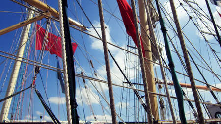 Tall ships masts with rigging Stock Photo