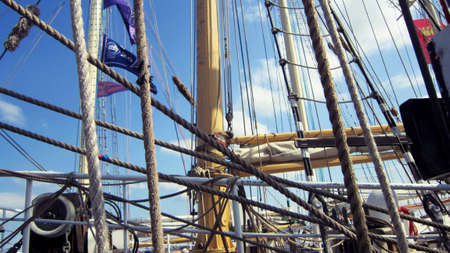 Tall ships masts with rigging photo
