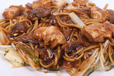 cooked noodles with pieces of chicken breast and vegetables in savoury mushroom sauce  chicken chow mein Stock Photo - 22435395