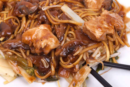 cooked noodles with pieces of chicken breast and vegetables in savoury mushroom sauce  chicken chow mein Stock Photo - 22446976