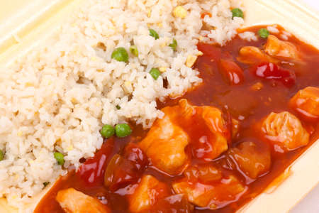 Closeup photo of take away chinese sweet and sour chicken with rice Stock Photo - 23246277