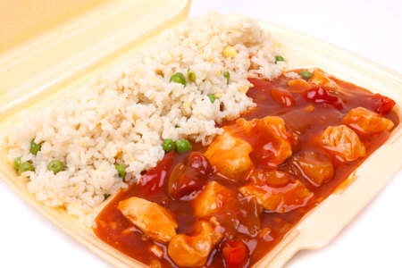 Closeup photo of take away chinese sweet and sour chicken with rice Stock Photo - 23246273