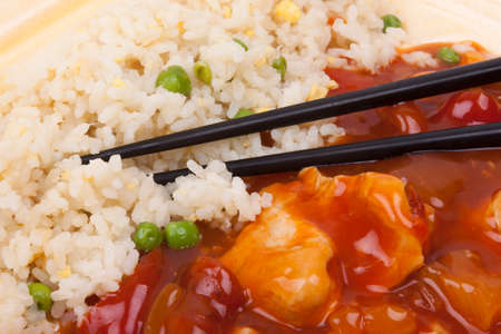 Closeup photo of chinese sweet and sour chicken with rice Stock Photo - 23246282