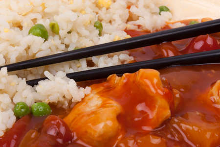 Closeup photo of chinese sweet and sour chicken with rice  Stock Photo