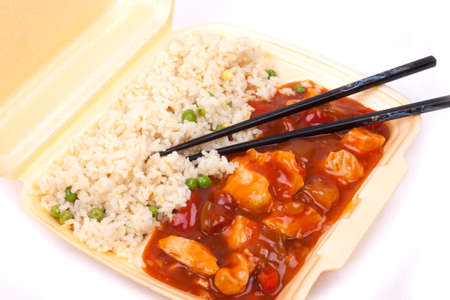 Closeup photo of take away chinese sweet and sour chicken with rice  Stock Photo - 23246279