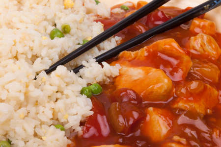 Closeup photo of chinese sweet and sour chicken with rice Stock Photo - 23246280
