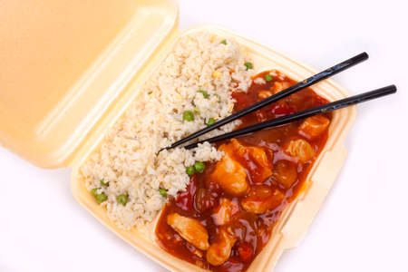 Closeup photo of take away chinese sweet and sour chicken with rice