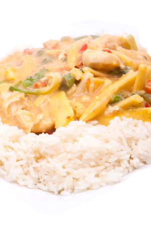 hydroxide: diced chicken in coconut curry sauce served with rice