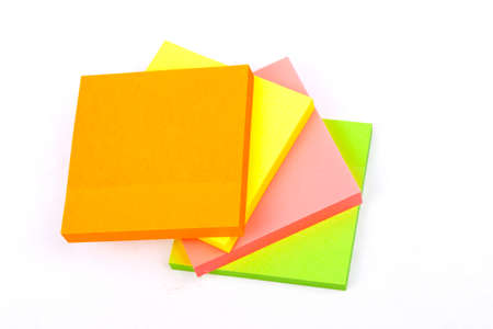 colorized: Sticky Notes Cube isolated on a white  Stock Photo
