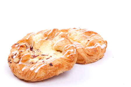 vanilla cream danish isolated on a white background Stock Photo