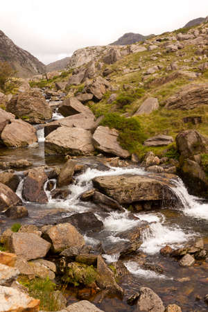 nant: The mountain stream,  Nant Peris near Llanberis, Snowdonia National park, Wales. Stock Photo