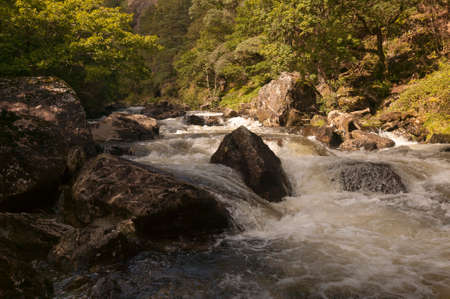 nant: The mountain stream,  Nantmor, Pont Aberglaslyn, Snowdonia National park, Wales.