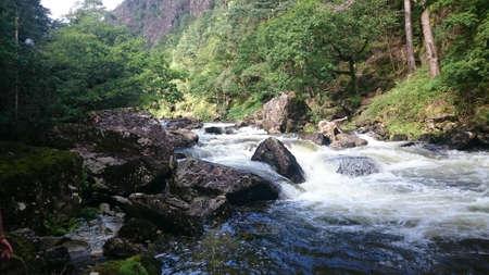 nant: The mountain stream,  Nantmor, Pont Aberglaslyn, Snowdonia National park, Wales.