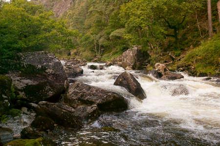 The mountain stream,  Nantmor, Pont Aberglaslyn, Snowdonia National park, Wales.
