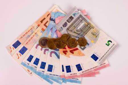 Photo of Euros isolated on a white background Stock Photo