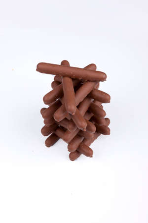 Chocolate Finger Biscuits isolated on white background