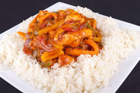 sweet chilli chicken with rice Stock Photo