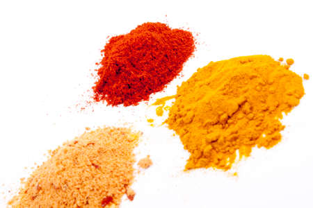 dry spices on a white background