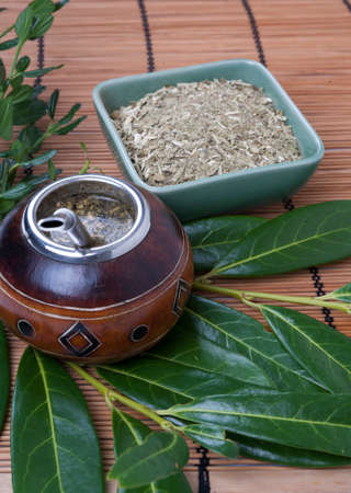 Yerba mate cup and straw, traditional drink of Argentina.
