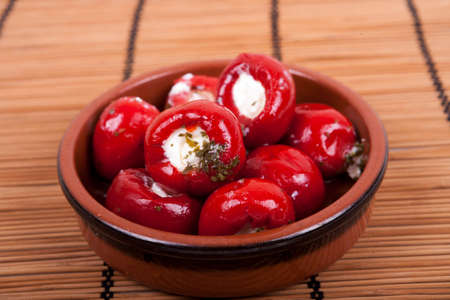 sweet red peppers stuffed with soft cream cheese Stockfoto