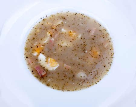 homemade traditional polish żur (sourdough soup)