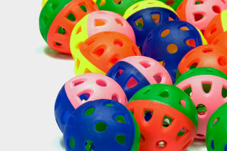 Colorful plastic bell ball toys for dogs and cats. They are enrichment for make pets feel happy. Stock Photo