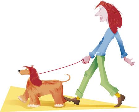 lug: walking with red dog Illustration