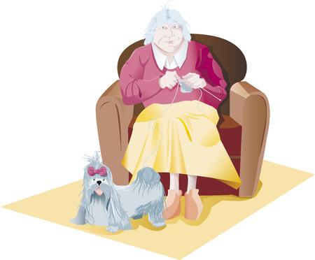alte frau: alte Frau Make Strick Hund