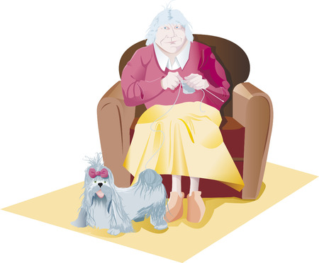grey hair: old woman make knitting dog Illustration