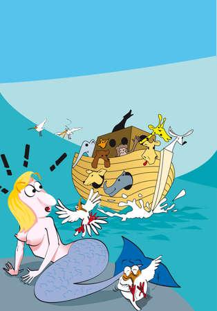 noah: siren and Noah s Ark Illustration