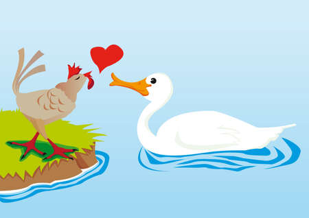 waterpolo: swan and hen in love Illustration