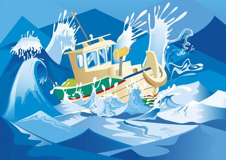 the tempest: boat in sea Illustration