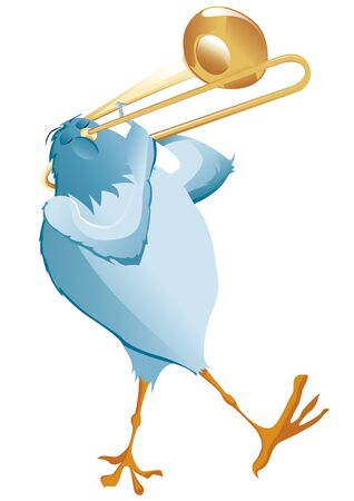 Blue bird make music with trombone