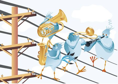 electric wire: Band of musical bird in electric wire Illustration