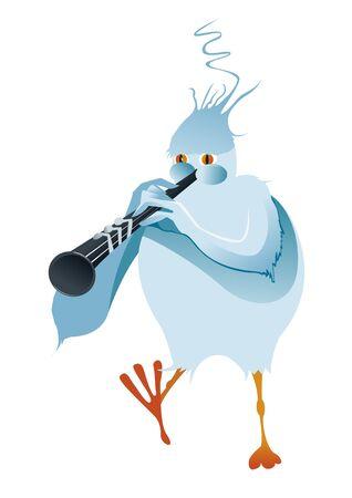 clarinet: Blue bird make music with clarinet Illustration
