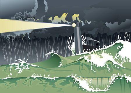 squall: Hurricane in night sea Illustration